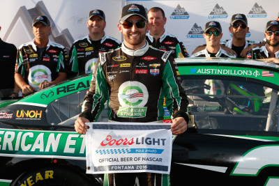 FONTANA, CA - MARCH 18: Austin Dillon, driver of the #3 American Ethanol Chevrolet, poses for a photo after winning the Coors Light Pole Award during qualifying for the NASCAR Sprint Cup Series Auto Club 400 at Auto Club Speedway on March 18, 2016 in Fontana, California. (Photo by Brian Lawdermilk/NASCAR via Getty Images)