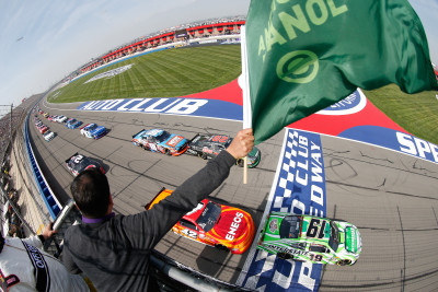 FONTANA, CA - MARCH 19: Daniel Suarez, driver of the #19 Interstate Batteries Toyota, and Kyle Larson, driver of the #42 ENEOS Chevrolet, leads a pack of cars at the start during the NASCAR Xfinity Series TreatMyClot.com 300 at Auto Club Speedway on March 19, 2016 in Fontana, California. (Photo by Brian Lawdermilk/NASCAR via Getty Images)