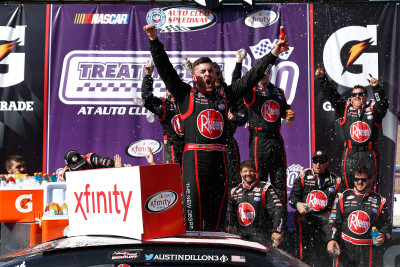 FONTANA, CA - MARCH 19: Austin Dillon, driver of the #2 Rheem Chevrolet, celebrates in victory lane after winning the NASCAR Xfinity Series TreatMyClot.com 300 at Auto Club Speedway on March 19, 2016 in Fontana, California. (Photo by Jeff Zelevansky/NASCAR via Getty Images)