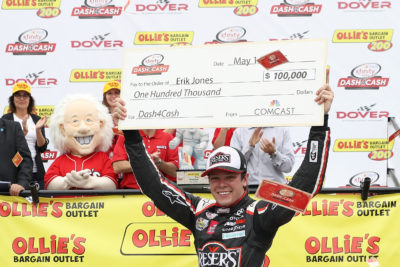 DOVER, DE - MAY 14: Erik Jones, driver of the #20 Reser's Fine Foods Toyota, celebrates in Victory Lane after winning the NASCAR XFINITY Series Ollie's Bargain Outlet 200 at Dover International Speedway on May 14, 2016 in Dover, Delaware. (Photo by Patrick Smith/Getty Images)