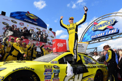 DOVER, DE - MAY 15: Matt Kenseth, driver of the #20 Dollar General Toyota, celebrates in Victory Lane after winning the NASCAR Sprint Cup Series AAA 400 Drive for Autism at Dover International Speedway on May 15, 2016 in Dover, Delaware. (Photo by Jared C. Tilton/Getty Images)