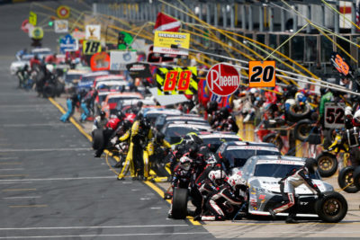 CHARLOTTE, NC - MAY 28: A view of pit road as drivers pit during the NASCAR XFINITY Series Hisense 300 at Charlotte Motor Speedway on May 28, 2016 in Charlotte, North Carolina. (Photo by Brian Lawdermilk/Getty Images)