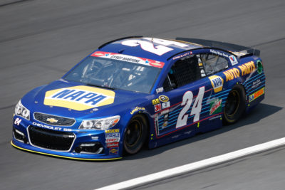 CHARLOTTE, NC - MAY 26: Chase Elliott, driver of the #24 NAPA Auto Parts Chevrolet, practices for the NASCAR Sprint Cup Series Coca-Cola 600 at Charlotte Motor Speedway on May 27, 2016 in Charlotte, North Carolina. (Photo by Todd Warshaw/NASCAR via Getty Images)