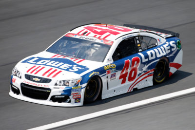 CHARLOTTE, NC - MAY 26: Jimmie Johnson, driver of the #48 Lowe's Patriotic Chevrolet, practices for the NASCAR Sprint Cup Series Coca-Cola 600 at Charlotte Motor Speedway on May 27, 2016 in Charlotte, North Carolina. (Photo by Todd Warshaw/NASCAR via Getty Images)