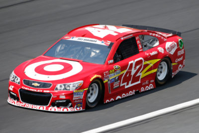 CHARLOTTE, NC - MAY 26: Kyle Larson, driver of the #42 Target Chevrolet, practices for the NASCAR Sprint Cup Series Coca-Cola 600 at Charlotte Motor Speedway on May 27, 2016 in Charlotte, North Carolina. (Photo by Todd Warshaw/NASCAR via Getty Images)