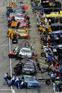 LOUDON, NH - JULY 17: Cars pit during the NASCAR Sprint Cup Series New Hampshire 301 at New Hampshire Motor Speedway on July 17, 2016 in Loudon, New Hampshire. (Photo by Robert Laberge/Getty Images)