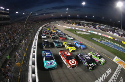 RICHMOND, VA - SEPTEMBER 10: Drivers line up in a four-wide formation to salute fans during the inaugural Fan Appreciation Weekend prior to the start of the NASCAR Sprint Cup Series Federated Auto Parts 400 at Richmond International Raceway on September 10, 2016 in Richmond, Virginia. (Photo by Chris Graythen/NASCAR via Getty Images)