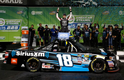 JOLIET, IL - SEPTEMBER 16: Kyle Busch, driver of the #18 SiriusXM Toyota, celebrates in Victory Lane after winning the NASCAR Camping World Truck Series American Ethanol E15 225 at Chicagoland Speedway on September 16, 2016 in Joliet, Illinois. (Photo by Jeff Zelevansky/NASCAR via Getty Images)