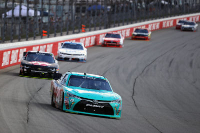 JOLIET, IL - SEPTEMBER 17: Erik Jones, driver of the #20 Hisense Toyota, leads a pack of cars during the NASCAR XFINITY Series Drive for Safety 300 at Chicagoland Speedway on September 17, 2016 in Joliet, Illinois. (Photo by Jonathan Daniel/Getty Images)