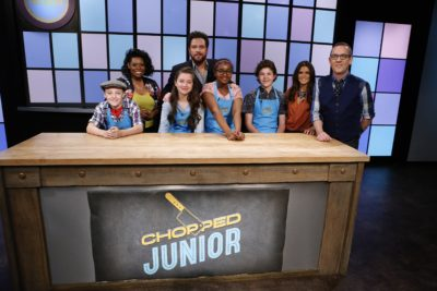 Junior chefs Will Connor, Lilah Donnelly, Taylor Brown and Kemp Guas meet judges Jamika Pessoa, Scott Conant and Danica Patrick and host Ted Allen, as seen on Food Network's Chopped Junior, Season 3.