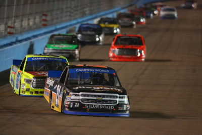 AVONDALE, AZ - NOVEMBER 11: Johnny Sauter, driver of the #21 Allegiant Travel Chevrolet, leads a pack of trucks during the NASCAR Camping World Truck Series Lucas Oil 150 at Phoenix International Raceway on November 11, 2016 in Avondale, Arizona. (Photo by Sarah Crabill/Getty Images)