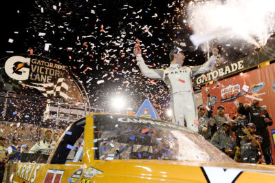 AVONDALE, AZ - NOVEMBER 11: Daniel Suarez, driver of the #51 ARRIS Toyota, celebrates in Victory Lane after winning the NASCAR Camping World Truck Series Lucas Oil 150 at Phoenix International Raceway on November 11, 2016 in Avondale, Arizona. (Photo by Blaine Ohigashi/Getty Images)