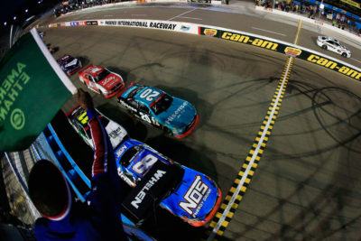 AVONDALE, AZ - NOVEMBER 12: Kyle Busch, driver of the #18 NOS Energy Drink Toyota, leads the field past the green flag to start the NASCAR XFINITY Series Ticket Galaxy 200 at Phoenix International Raceway on November 12, 2016 in Avondale, Arizona. (Photo by Chris Trotman/NASCAR via Getty Images)