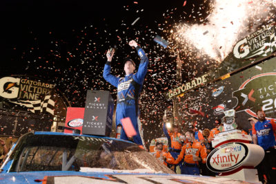 AVONDALE, AZ - NOVEMBER 12: Kyle Busch, driver of the #18 NOS Energy Drink Toyota, celebrates in Victory Lane after winning the NASCAR XFINITY Series Ticket Galaxy 200 at Phoenix International Raceway on November 12, 2016 in Avondale, Arizona. (Photo by Blaine Ohigashi/Getty Images)