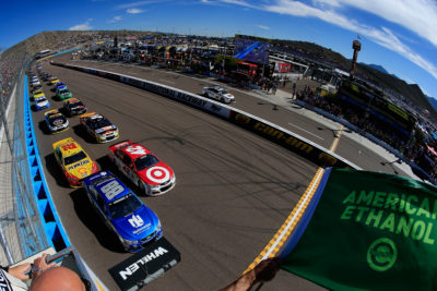 AVONDALE, AZ - NOVEMBER 13: Alex Bowman, driver of the #88 Nationwide Chevrolet, leads the field to the green flag to start the NASCAR Sprint Cup Series Can-Am 500 at Phoenix International Raceway on November 13, 2016 in Avondale, Arizona. (Photo by Chris Trotman/NASCAR via Getty Images)