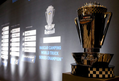MIAMI BEACH, FL - NOVEMBER 17: The Camping World Truck Series trophy sits on display during media day for the NASCAR Camping World Truck Series Championship at the Loews Hotel on November 17, 2016 in Miami Beach, Florida. (Photo by Sean Gardner/NASCAR via Getty Images)