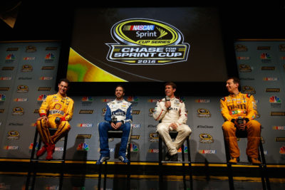MIAMI BEACH, FL - NOVEMBER 17: (L-R) Joey Logano, driver of the #22 Shell-Pennzoil/AAA Ford, Jimmie Johnson, driver of the #48 Lowe's Chevrolet, Carl Edwards, driver of the #19 Arris Surfboard Toyota, and Kyle Busch, driver of the #18 M&M's Core Toyota talk to the media during media day for the NASCAR Sprint Cup Series Championship at the Loews Hotel on November 17, 2016 in Miami Beach, Florida. (Photo by Chris Trotman/Getty Images)
