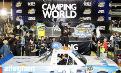 HOMESTEAD, FL - NOVEMBER 18: Johnny Sauter, driver of the #21 Allegiant Travel Chevrolet, celebrates in Victory Lane after winning the NASCAR Camping World Truck Series Championship at Homestead-Miami Speedway on November 18, 2016 in Homestead, Florida. (Photo by Sean Gardner/NASCAR via Getty Images)