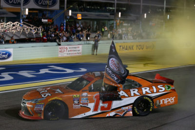 HOMESTEAD, FL - NOVEMBER 19: Daniel Suarez, driver of the #19 ARRIS Toyota, celebrates winning the NASCAR XFINITY Series Ford EcoBoost 300 and the NASCAR XFINITY Series Championship at Homestead-Miami Speedway on November 19, 2016 in Homestead, Florida. (Photo by Sarah Crabill/Getty Images)