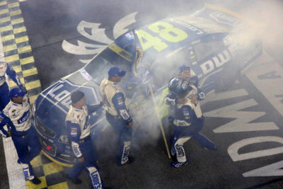 HOMESTEAD, FL - NOVEMBER 20: Jimmie Johnson, driver of the #48 Lowe's Chevrolet, celebrates with crew members after winning the NASCAR Sprint Cup Series Ford EcoBoost 400 and the 2016 NASCAR Sprint Cup Series Championship at Homestead-Miami Speedway on November 20, 2016 in Homestead, Florida. Johnson wins a record-tying 7th NASCAR title. (Photo by Sean Gardner/NASCAR via Getty Images)