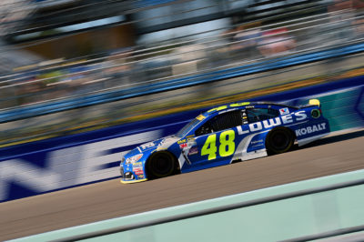 HOMESTEAD, FL - NOVEMBER 20: Jimmie Johnson, driver of the #48 Lowe's Chevrolet, races during the NASCAR Sprint Cup Series Ford EcoBoost 400 at Homestead-Miami Speedway on November 20, 2016 in Homestead, Florida. (Photo by Jared C. Tilton/Getty Images)