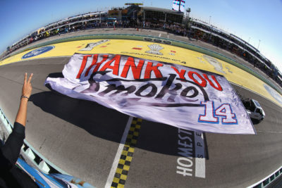 HOMESTEAD, FL - NOVEMBER 20: A banner thanking Tony Stewart, driver of the #14 Always a Racer/Mobil 1 Chevrolet, is displayed during pre-race ceremonies for the NASCAR Sprint Cup Series Ford EcoBoost 400 at Homestead-Miami Speedway on November 20, 2016 in Homestead, Florida. (Photo by Sean Gardner/NASCAR via Getty Images)