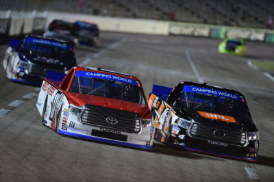 FORT WORTH, TX - NOVEMBER 04: Timothy Peters, driver of the #17 Red Horse Racing Toyota, races Christopher Bell, driver of the #4 JBL Toyota, during the NASCAR Camping World Truck Series Striping Technology 350 at Texas Motor Speedway on November 4, 2016 in Fort Worth, Texas. (Photo by Jared C. Tilton/Getty Images)