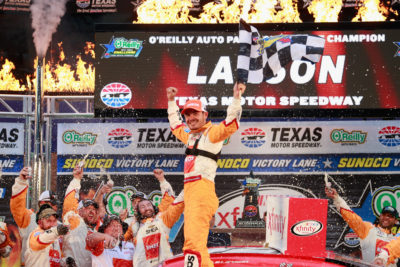 FORT WORTH, TX - NOVEMBER 05: Kyle Larson, driver of the #42 ENEOS Chevrolet, celebrates in Victory Lane after winning the NASCAR XFINITY Series O'Reilly Auto Parts Challenge at Texas Motor Speedway on November 5, 2016 in Fort Worth, Texas. (Photo by Matt Sullivan/NASCAR via Getty Images)