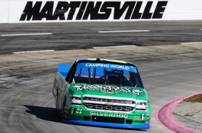 MARTINSVILLE, VA - OCTOBER 29: Johnny Sauter, driver of the #21 Smokey Mountain Herbal Snuff Chevrolet, races during the NASCAR Camping World Truck Series Texas Roadhouse 200 presented by Alpha Energy Solutions at Martinsville Speedway on October 29, 2016 in Martinsville, Virginia. (Photo by Matt Sullivan/NASCAR via Getty Images)